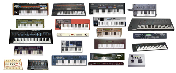 vintage synthesizer keyboards