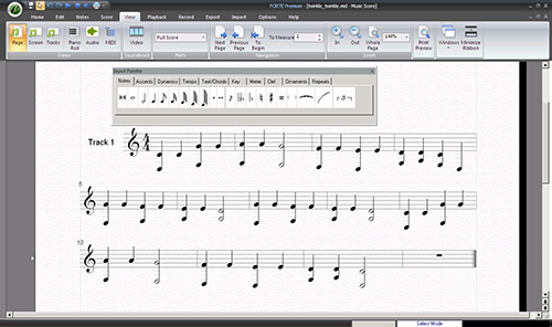 Forte musical notation program