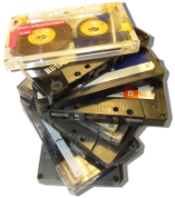 stack of stereo cassette tapes